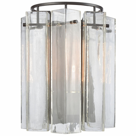 11160/1 ELK Lighting Cubic Glass 1-Light Sconce in Oil Rubbed Bronze with Clear Glass Square Tubes