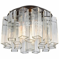 11161/3 ELK Lighting Cubic Glass 3-Light Semi Flush in Oil Rubbed Bronze with Clear Glass Square Tubes