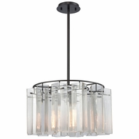 11162/3 ELK Lighting Cubic Glass 3-Light Chandelier in Oil Rubbed Bronze with Clear Glass Square Tubes