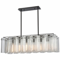 11163/6 ELK Lighting Cubic Glass 6-Light Linear Chandelier in Oil Rubbed Bronze with Clear Glass Square Tubes