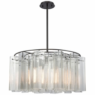 11164/6 ELK Lighting Cubic Glass 6-Light Chandelier in Oil Rubbed Bronze with Clear Glass Square Tubes