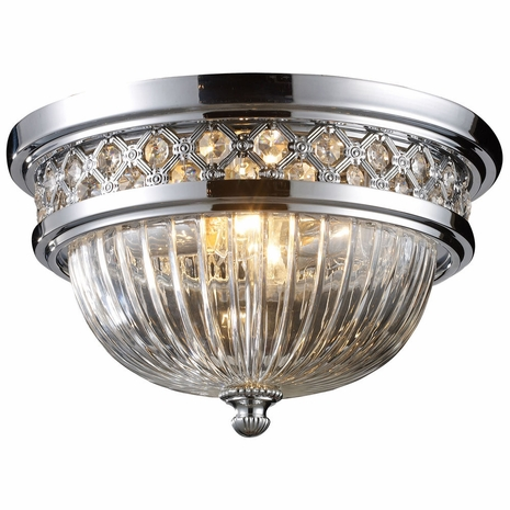 11225/2 ELK Lighting Flushmounts 2-Light Flush Mount in Polished Chrome with Glass and Crystal
