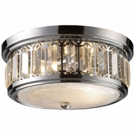 11226/2 ELK Lighting Flushmounts 2-Light Flush Mount in Polished Chrome with Glass and Crystal