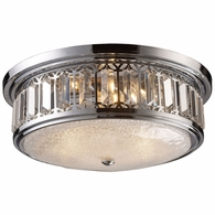11227/3 ELK Lighting Flushmounts 3-Light Flush Mount in Polished Chrome with Glass and Crystal
