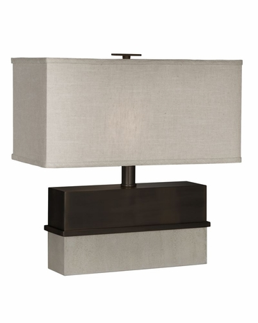1126-ASL-2093 Thumprints Piedmont Table Lamp - Dark Bronze and Distressed White Finish and Natural Linen Hardback Shade