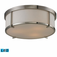 11465/3-LED ELK Lighting Flushmounts 3-Light Flush Mount in Brushed Nickel with Opal White Glass - Includes LED Bulbs