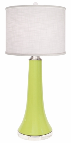 1147-ASL-2108 Thumprints Juicy-Lime-Linen Shade with High Gloss Lime Glaze, Brushed Nickel, Clear Acrylic Base