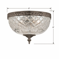 117-8-EB Crystorama Crystorama 2 Light Bronze Crystal Ceiling Mount