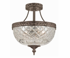 118-10-EB Crystorama Crystorama 3 Light Bronze Crystal Ceiling Mount