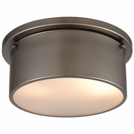 12110/2 ELK Lighting 2-Light Flush Mount in Black Nickel with Frosted Glass