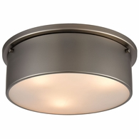 12111/3 ELK Lighting 3-Light Flush Mount in Black Nickel with Frosted Glass