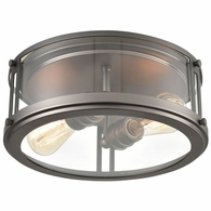 12112/2 ELK Lighting 2-Light Flush Mount in Black Nickel with Clear Glass