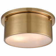 12120/2 ELK Lighting 2-Light Flush Mount in Satin Brass with Frosted Glass