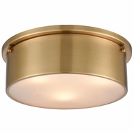 12121/3 ELK Lighting 3-Light Flush Mount in Satin Brass with Frosted Glass