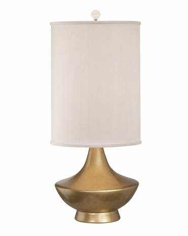 1216-ASL-2167 Thumprints Cleopatra Table Lamp - Gold Lacquer Finish and White Silk Hardback Shade