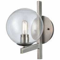 12180/1 ELK Lighting Globes of Light 1-Light Wall Lamp in Brushed Black Nickel with Clear Blown Glass