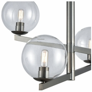12181/4 ELK Lighting Globes of Light 4-Light Chandelier in Brushed Black Nickel with Clear Blown Glass