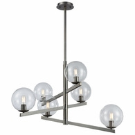 12182/6 ELK Lighting Globes of Light 6-Light Chandelier in Brushed Black Nickel with Clear Blown Glass