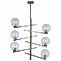 12183/6 ELK Lighting Globes of Light 6-Light Chandelier in Brushed Black Nickel with Clear Blown Glass