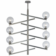 12184/8 ELK Lighting Globes of Light 8-Light Chandelier in Brushed Black Nickel with Clear Blown Glass