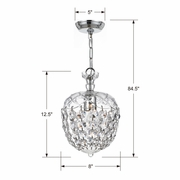 143-CH-CL-MWP Crystorama Celia 1 Light Crystal Chrome Pendant