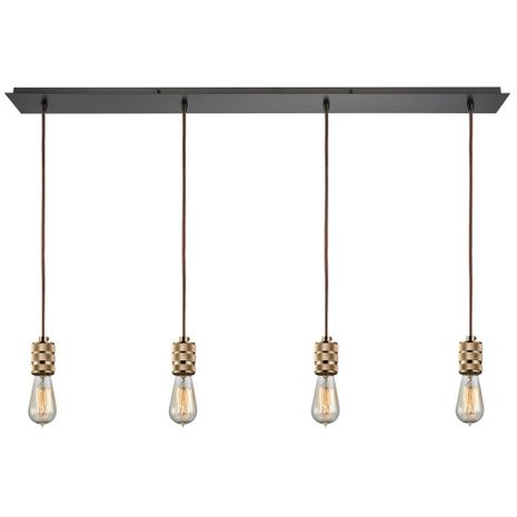14391/4LP ELK Lighting Camley 4-Light Linear Pendant Fixture in Oil Rubbed Bronze and Polished Gold