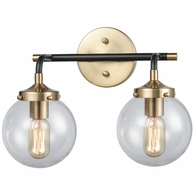 14427/2 ELK Lighting Boudreaux 2-Light Vanity Lamp in Matte Black and Antique Gold with Sphere-shaped Glass