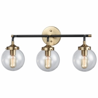 14428/3 ELK Lighting Boudreaux 3-Light Vanity Lamp in Matte Black and Antique Gold with Sphere-shaped Glass