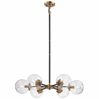 14432/6 ELK Lighting Boudreaux 6-Light Chandelier in Antique Gold and Matte Black with Sphere-shaped Glass