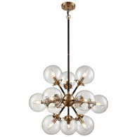 14434/12 ELK Lighting Boudreaux 12-Light Chandelier in Antique Gold and Matte Black with Sphere-shaped Glass