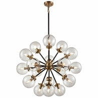 14435/18 ELK Lighting Boudreaux 18-Light Chandelier in Antique Gold and Matte Black with Sphere-shaped Glass