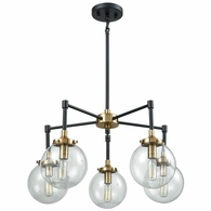 14437/5 ELK Lighting Boudreaux 5-Light Chandelier in Matte Black and Antique Gold with Sphere-shaped Glass