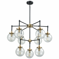 14438/6+3 ELK Lighting Boudreaux 9-Light Chandelier in Matte Black and Antique Gold with Sphere-shaped Glass