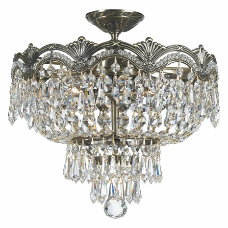 1483-HB-CL-SAQ Crystorama Majestic 3 Light Spectra Crystal Ceiling Mount
