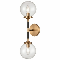 15340/2 ELK Lighting Boudreaux 2-Light Sconce in Matte Black and Antique Gold with Clear Glass