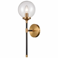 15341/1 ELK Lighting Boudreaux 1-Light Sconce in Matte Black with Clear Glass