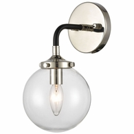 15350/1 ELK Lighting Boudreaux 1-Light Sconce in Matte Black with Clear Glass