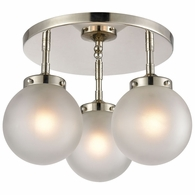 15362/3 ELK Lighting Boudreaux 3-Light Semi Flush Mount in Polished Nickel with Frosted