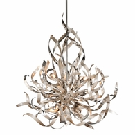 154-46 Corbett Graffiti 6Lt Pendant with Silver Leaf Polished Stainless Finish