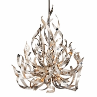 154-49 Corbett Graffiti 9Lt Pendant with Silver Leaf Polished Stainless Finish