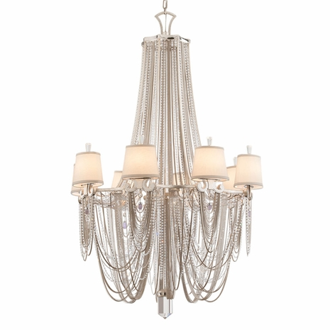 157-08 Corbett Flirt 8Lt Chandelier with Silver Leaf Polished Stainless Finish