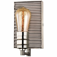 15920/1 ELK Lighting Corrugated Steel 1-Light Vanity Lamp in Polished Nickel and Weathered Zinc/Corrugated Steel