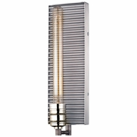 15921/1 ELK Lighting Corrugated Steel 1-Light Sconce in Polished Nickel and Weathered Zinc/Corrugated Steel