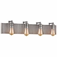 15923/4 ELK Lighting Corrugated Steel 4-Light Vanity Sconce in Polished Nickel and Weathered Zinc/Corrugated Steel