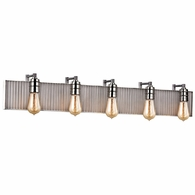 15924/5 ELK Lighting Corrugated Steel 5-Light Vanity Sconce in Polished Nickel and Weathered Zinc/Corrugated Steel