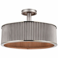15925/3 ELK Lighting Corrugated Steel 3-Light Semi Flush Mount in Weathered Zinc with Corrugated Metal