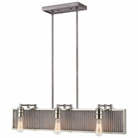 15928/6 ELK Lighting Corrugated Steel 6-Light Linear Chandelier in Weathered Zinc