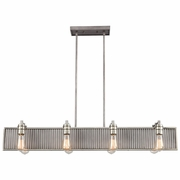15929/8 ELK Lighting Corrugated Steel 8-Light Linear Chandelier in Weathered Zinc