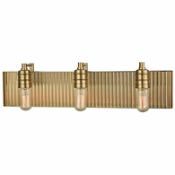 15942/3 ELK Lighting Corrugated Steel 3-Light Vanity Sconce in Satin Brass