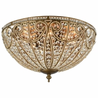 15963/8 ELK Lighting Elizabethan 8-Light Flush Mount in Dark Bronze with Clear Crystal